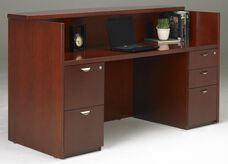 Mira Reception Station with One Box Box File Pedestal and One File File Pedestal - Medium Cherry on Cherry Veneer