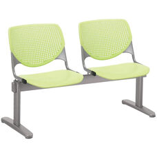 2300 KOOL Series Beam Seating with 2 Poly Perforated Back and Seats with Silver Frame - Lime Green