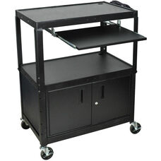 Extra Large Adjustable Height Steel A/V Cart with Pullout Shelf and Locking Cabinet - Black - 32