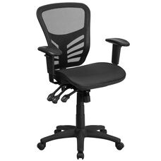 Mid-Back Transparent Black Mesh Multifunction Executive Swivel Ergonomic Office Chair with Adjustable Arms
