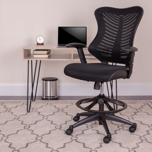 High Back Designer Black Mesh Drafting Chair with LeatherSoft Sides and Adjustable Arms