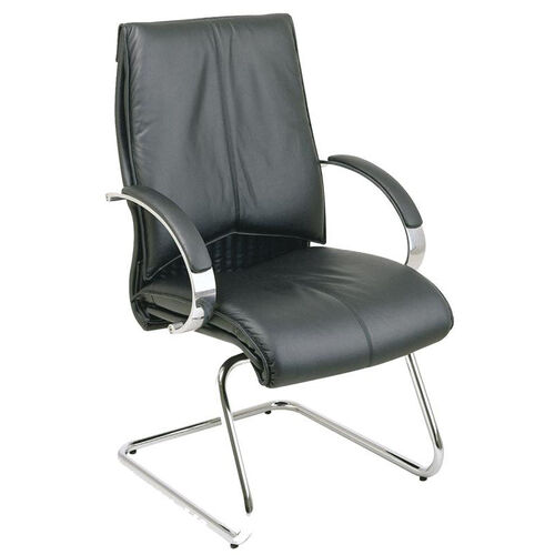 Our Pro-Line II Deluxe Visitors Leather Chair with Chrome Base and Padded Arms - Black is on sale now.