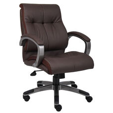 Double Plush Mid Back Executive Chair with Padded Arms - Brown