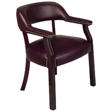 Work Smart Traditional Mahogany Guest Chair with Wrap-Around Back and Padded Armrests - Oxblood