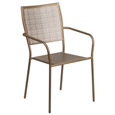 Gold Indoor-Outdoor Steel Patio Arm Chair with Square Back
