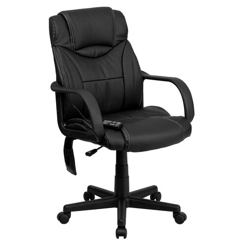 Our Mid-Back Ergonomic Massaging Black Leather Executive Swivel Office Chair with Arms is on sale now.