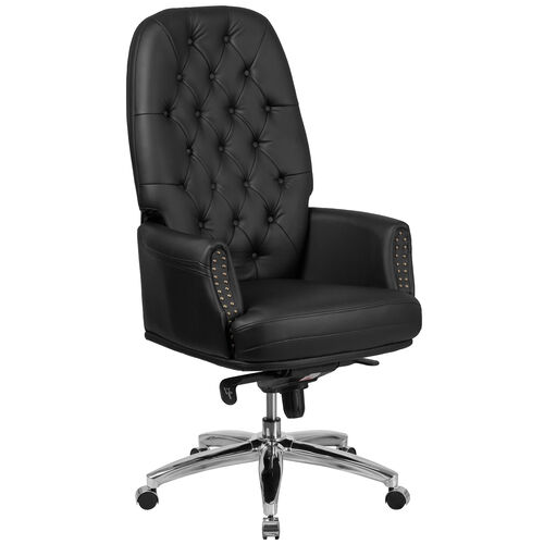 Our High Back Traditional Tufted Black Leather Multifunction Executive Swivel Ergonomic Office Chair with Arms is on sale now.