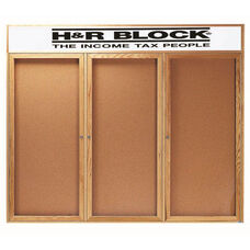 3 Door Enclosed Bulletin Board with Header and Oak Finish - 48