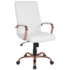 High Back White Leather Executive Swivel Office Chair with Rose Gold Frame and Arms