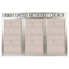 3 Door Outdoor Illuminated Enclosed Bulletin Board with Header and Aluminum Frame - 48