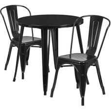 30'' Round Metal Indoor-Outdoor Table Set with 2 Cafe Chairs