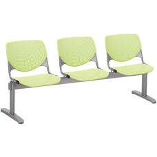 2300 KOOL Series Beam Seating with 3 Poly Perforated Back and Seats with Silver Frame - Lime Green