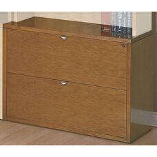 OSP Furniture Kenwood Hardwood Veneer Lateral File with Curved Metal Drawer Pulls