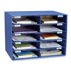 Pacon Mail Box - 10 Slots - 12 -1/2'' x 10'' x 3'' - Blue
