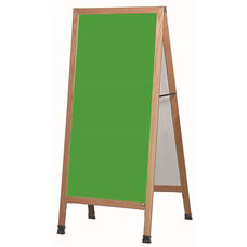 Extra Large A-Frame Sidewalk Board with Green Porcelain Chalkboard and Clear Lacquer Finished Solid Red Oak Frame - 30