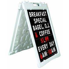 Universal Sidewalk A-Frame Sign Holder with Deluxe Black Changeable Letterboard - White - 27