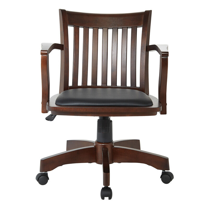 ... Our OSP Designs Deluxe Wood Bankeru0027s Chair With Black Vinyl Padded Seat    Espresso Is On ...
