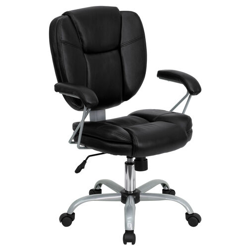 Our Mid-Back Black Leather Swivel Task Office Chair with Pillow Top Cushioning and Platinum Epoxy Base & Arms is on sale now.
