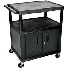 3 Large Shelf High Open Shelf Mobile A/V Utility Cart with Locking Cabinet and 3 Outlet Surge - Black - 32