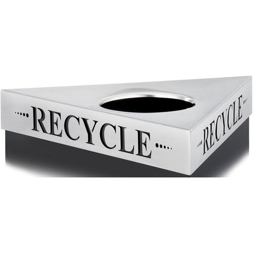 Our Trifecta® One Size Fits All Triangular Stainless Steel Lid - Recycle is on sale now.