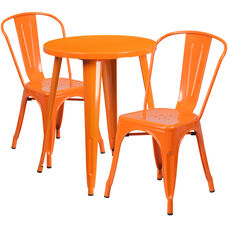 """Commercial Grade 24"""" Round Orange Metal Indoor-Outdoor Table Set with 2 Cafe Chairs"""