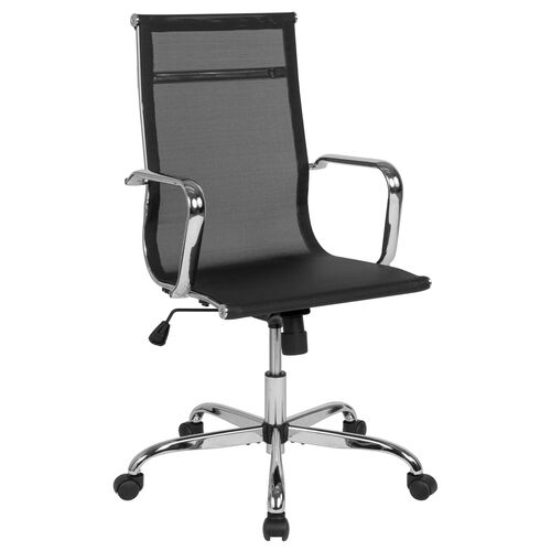 Our High Back Transparent Black Mesh Mid-Century Modern Swivel Office Chair with Spring-Tilt Control and Arms is on sale now.