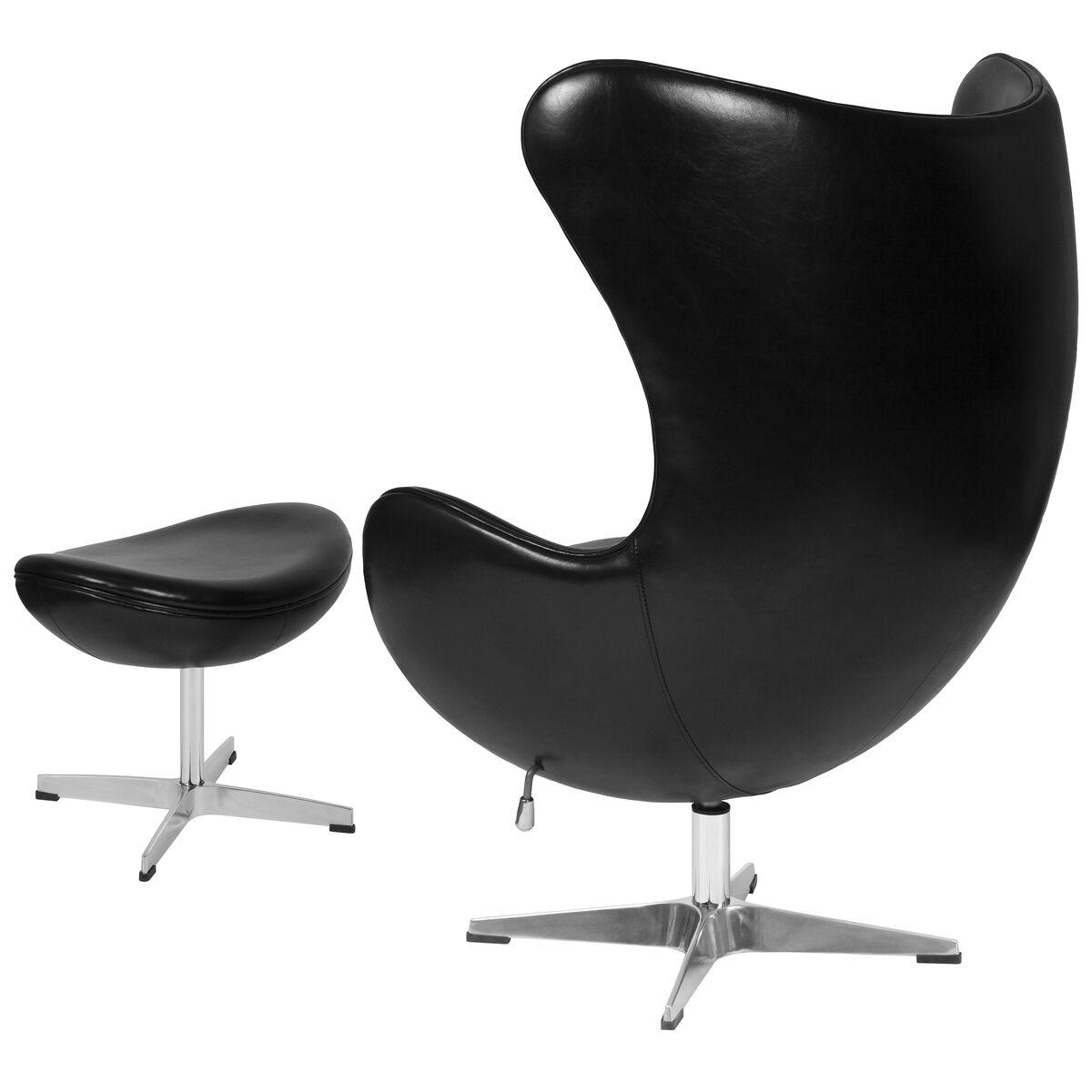 Enjoyable Black Leather Egg Chair With Tilt Lock Mechanism And Ottoman Ibusinesslaw Wood Chair Design Ideas Ibusinesslaworg