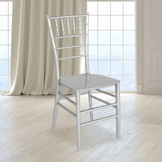 """HERCULES Series Silver Resin Stacking Chiavari Chair with <span style=""""color:#0000CD;"""">Free </span> Cushion"""