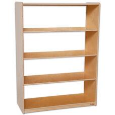 Wooden 4 Fixed Shelf Bookcase with Acrylic Back - 36