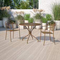 "Commercial Grade 35.25"" Round Gold Indoor-Outdoor Steel Patio Table"