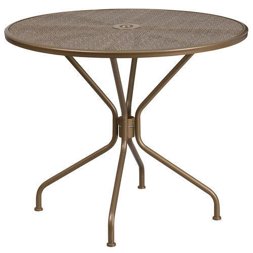 """Our Commercial Grade 35.25"""" Round Gold Indoor-Outdoor Steel Patio Table is on sale now."""