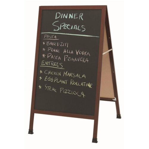 Our A-Frame Sidewalk Black Composition Chalkboard with Cherry Wood Look Aluminum Frame - 42