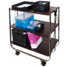 Click-N-Fold 3 Shelf Service Cart with Rolling Casters - Black