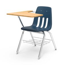 9000 Series Student Combo Desk with Right Handed Medium Oak Laminate Tablet Arm, Chrome Frame, and Navy Chair - 20