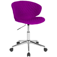 Cambridge Home and Office Upholstered Low Back Chair in Purple Fabric