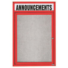 1 Door Outdoor Enclosed Bulletin Board with Header and Red Powder Coated Aluminum Frame - 48