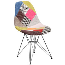 Elon Series Milan Patchwork Fabric Chair with Chrome Base