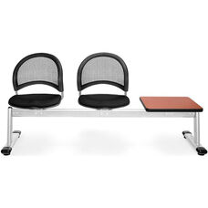 Moon 3-Beam Seating with 2 Black Fabric Seats and 1 Table - Cherry Finish
