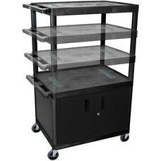 Endura 3 Large Shelf Mobile A/V Cart with Locking Cabinet - Black - 32