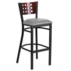 Black Decorative Cutout Back Metal Restaurant Barstool with Mahogany Wood Back & Custom Upholstered Seat
