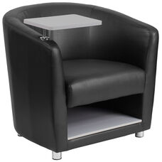 Black Leather Guest Chair with Tablet Arm, Chrome Legs and Under Seat Storage