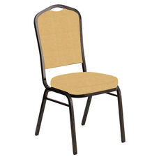 Embroidered Crown Back Banquet Chair in Neptune Dune Fabric - Gold Vein Frame
