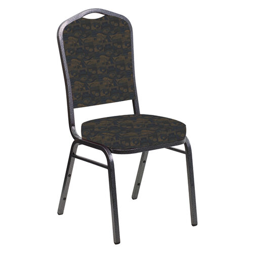 Our Embroidered Crown Back Banquet Chair in Perplex Cobalt Fabric - Silver Vein Frame is on sale now.