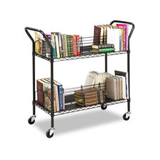 Safco® Wire Book Cart - Steel - Four-Shelf - 44w x 18-3/4d x 40-1/4h - Black