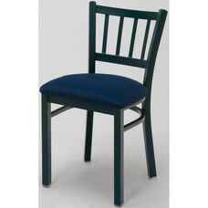 3300 Series Square Steel Frame Armless Cafe Chair with Contoured Slatted Back and Upholstered Seat