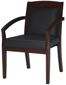 Mercado Solid Back Guest Chair - Set of 2 - Black Leather with Sierra Cherry