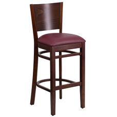 Walnut Finished Solid Back Wooden Restaurant Barstool with Burgundy Vinyl Seat