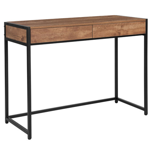 Our Cumberland Collection Computer Desk with Two Full-Length Drawers in Rustic Wood Grain Finish is on sale now.