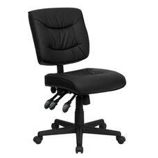Mid-Back Black LeatherSoft Multifunction Swivel Ergonomic Task Office Chair