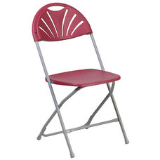 HERCULES Series 800 lb. Capacity Burgundy Plastic Fan Back Folding Chair